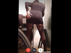 Sexy crossdresser vidz with black  super dress ride a lucky dildo