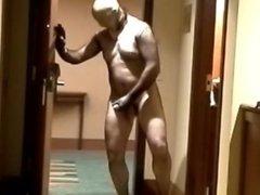 jerk off vidz in fishnet  super bod ystocking at hotel door