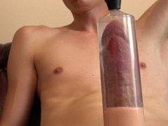 'new XL vidz penis pump  super stretching out big cock ends in huge cumshot'